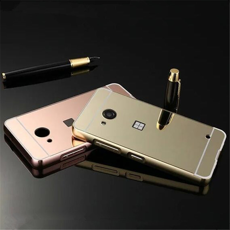 For Nokia Microsoft Lumia 550 RM-1127 Metal Aluminum Bumper + Acrylic Hard Mirror Back Hybrid Cell Phone Cover Cases(China (Mainland))