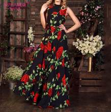 S. Saveur imprimé fleuri Maxi longue robe femmes Vintage sans manches Boho robe mode o-cou Sexy fête Vestidos robe de plage(China)