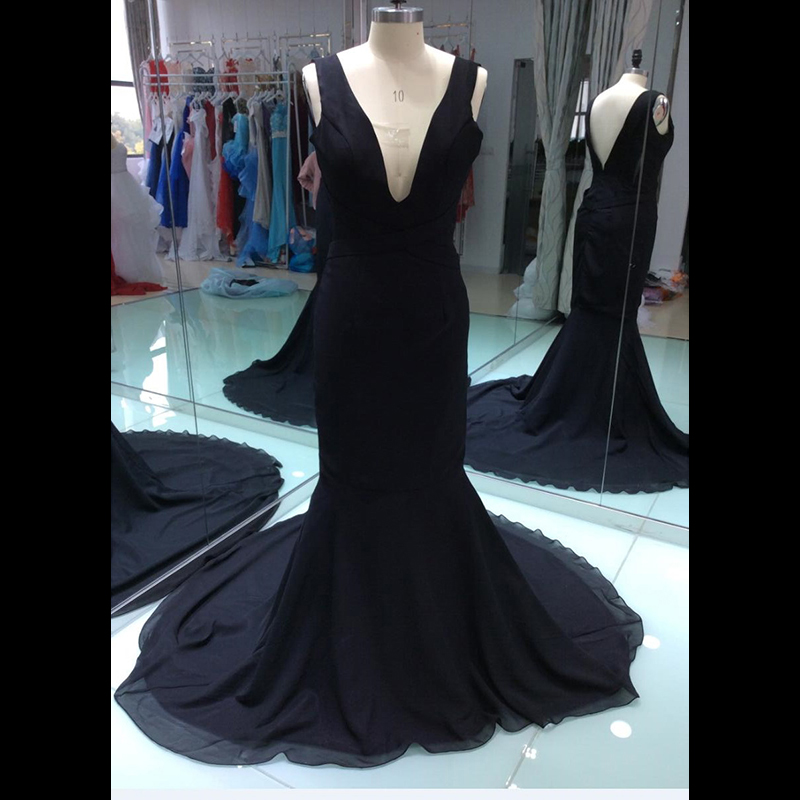 2017 Cheap New Real Sample Photo Black Prom Dress Sexy Long Formal Evening Party Gown Plus Size Custom Made Size 8 10 12(China (Mainland))
