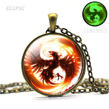 Ogień Phoenix biżuteria Glow In The Dark szklaną kopułą wisiorek naszyjnik moda srebrny brązowy czarny kolor naszyjnik łańcuch dla mężczyzn kobiety(China)