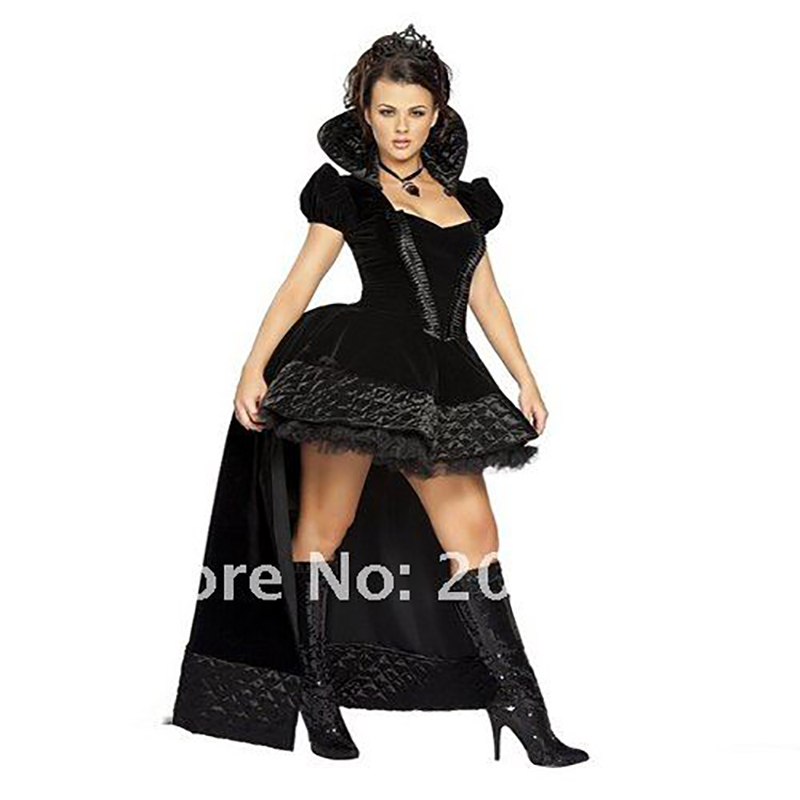 Women Black Queen Costume Adult Snow White and the Seven Dwarfs Costumes Halloween Costumes for women Fancy Dress FE654(China (Mainland))