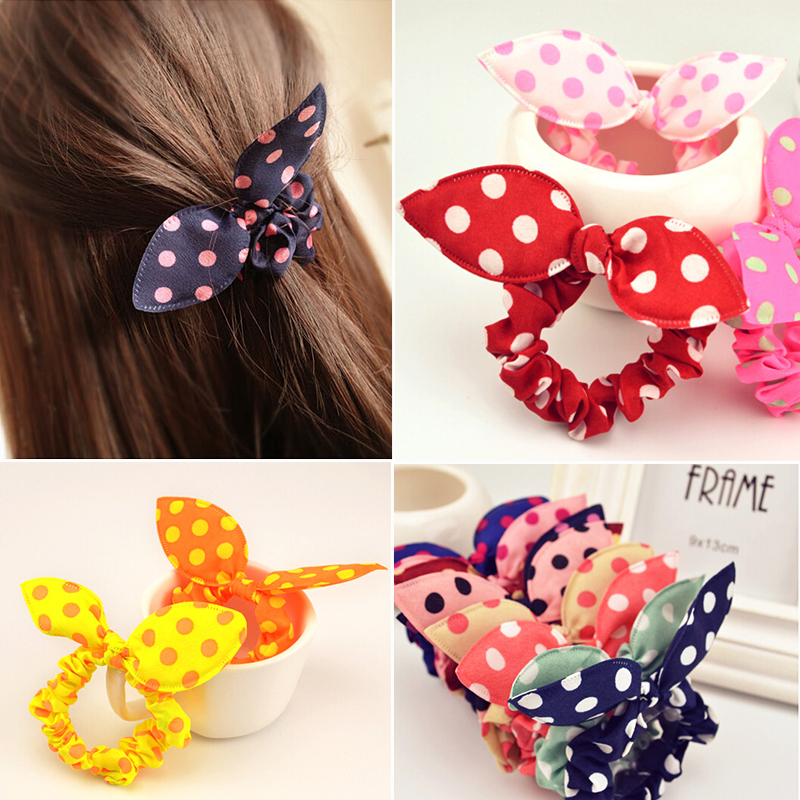 Free Shipping 10Pcs/Lot Fashion Hair Band Polka Dot Elastic Hair Rope Ponytail Holder Rabbit Ears Hair Tie Girl Hair Accessory(China (Mainland))