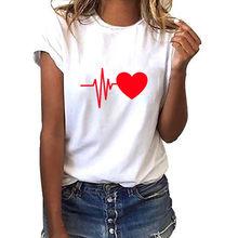 Moda 2019 T koszula kobiety luźna krótka rękaw piękny nadruk w kształcie serca letnia koszulka Casual O-neck top damski Camiseta Mujer # Y6(China)
