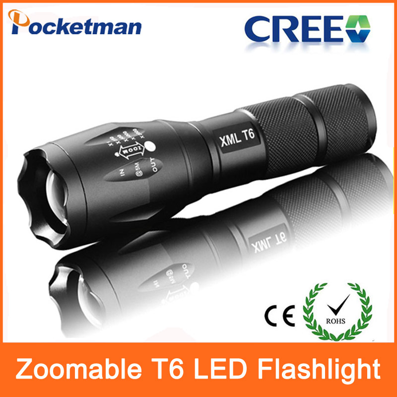 3800 Lumens CREE XML T6 LED Flashlight Waterproof Zoomable Adjustable Tactical Torch Lamp 18650 Battery Self-defense Lamp(China (Mainland))