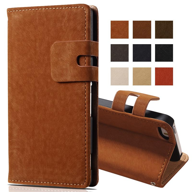 Soft Feel PU Leather Case for iPhone 5 5S Phone Bag Book Style with Stand and Card Slot Luxury Flip Cover Beige Brown(China (Mainland))