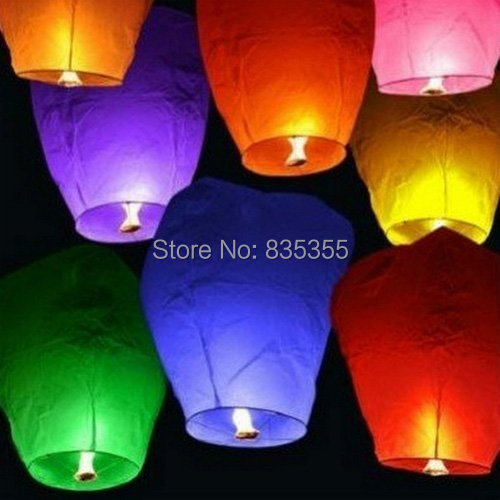 20pcs Multi Color White Sky Fire Chinese Lanterns Flying Paper Wish Balloon for Wedding Festival Christmas Party(China (Mainland))