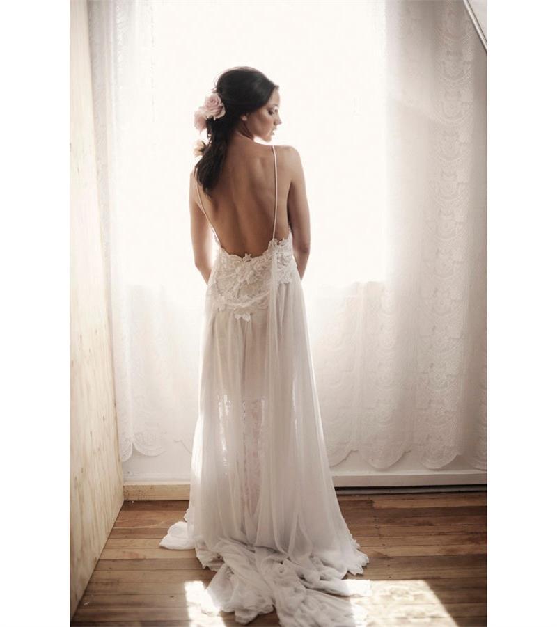 Buy white lace chiffon evening dress 2015 for Lace v neck backless wedding dress