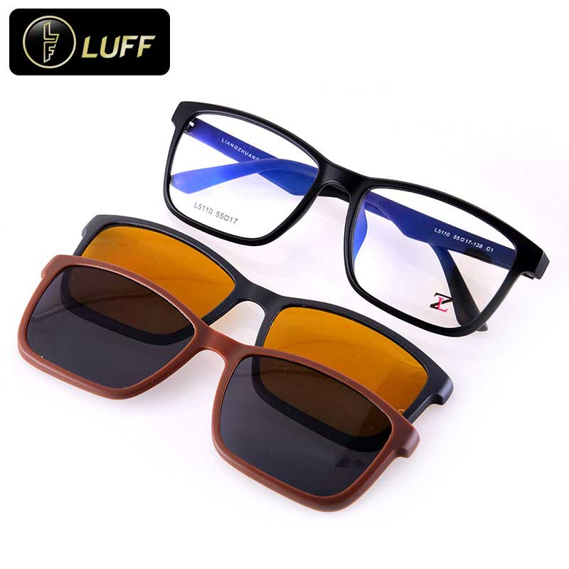 Eyeglass Frame With Magnetic Clip On Sunglasses : 2016 Polarized Sunglasses Myopia Men Glasses Frame Optics ...