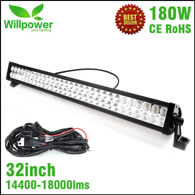 IP67 high power dual rows 14400lms combo off road car waterproof 32 inch 180W led light bar(China (Mainland))