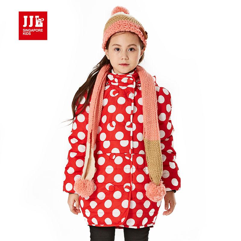 girls long jacket polka dot design for brand kids winter coat children clothing kids girls children coat 2015 new size 6-15y