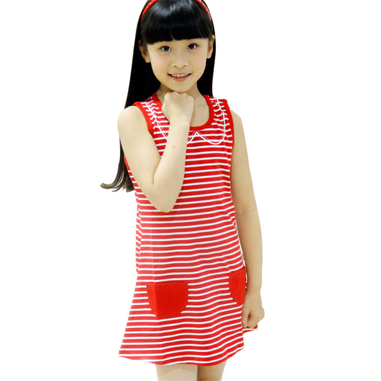 2015 summer new styles kids dress baby girls fashion pocket style striped sleeveless vest dress simple vest dress  Q0002(China (Mainland))