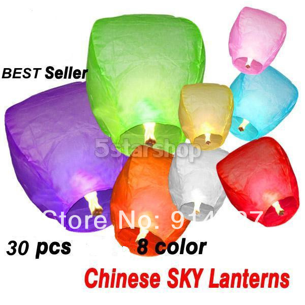 30PCS Holiday Sky Lanterns Multi Colors Chinese Paper Flying Fire Air Wishing Candle Lanterns Valentine Birthday lamps(China (Mainland))