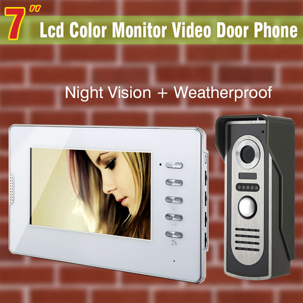 7`` TFT Color Monitor Video Door Phone Intercom Doorbell System IR Camera Doorphone Kit Speakerphone Intercom Waterproof 1V1<br><br>Aliexpress