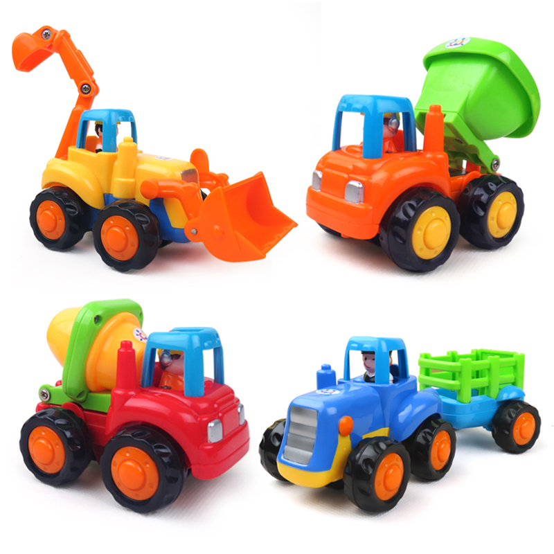 4Pcs Durable High Quality Best Toy Set Truck toy Tractor Trailer Mixer Baby Boy Kids Gift Truck Inertia Engineering car toy(China (Mainland))