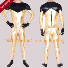 Free Shipping DHL Sexy Back Zipped Quality Metallic Zentai Catsuit Gold&Black  Fashion Fun Costume SM1523