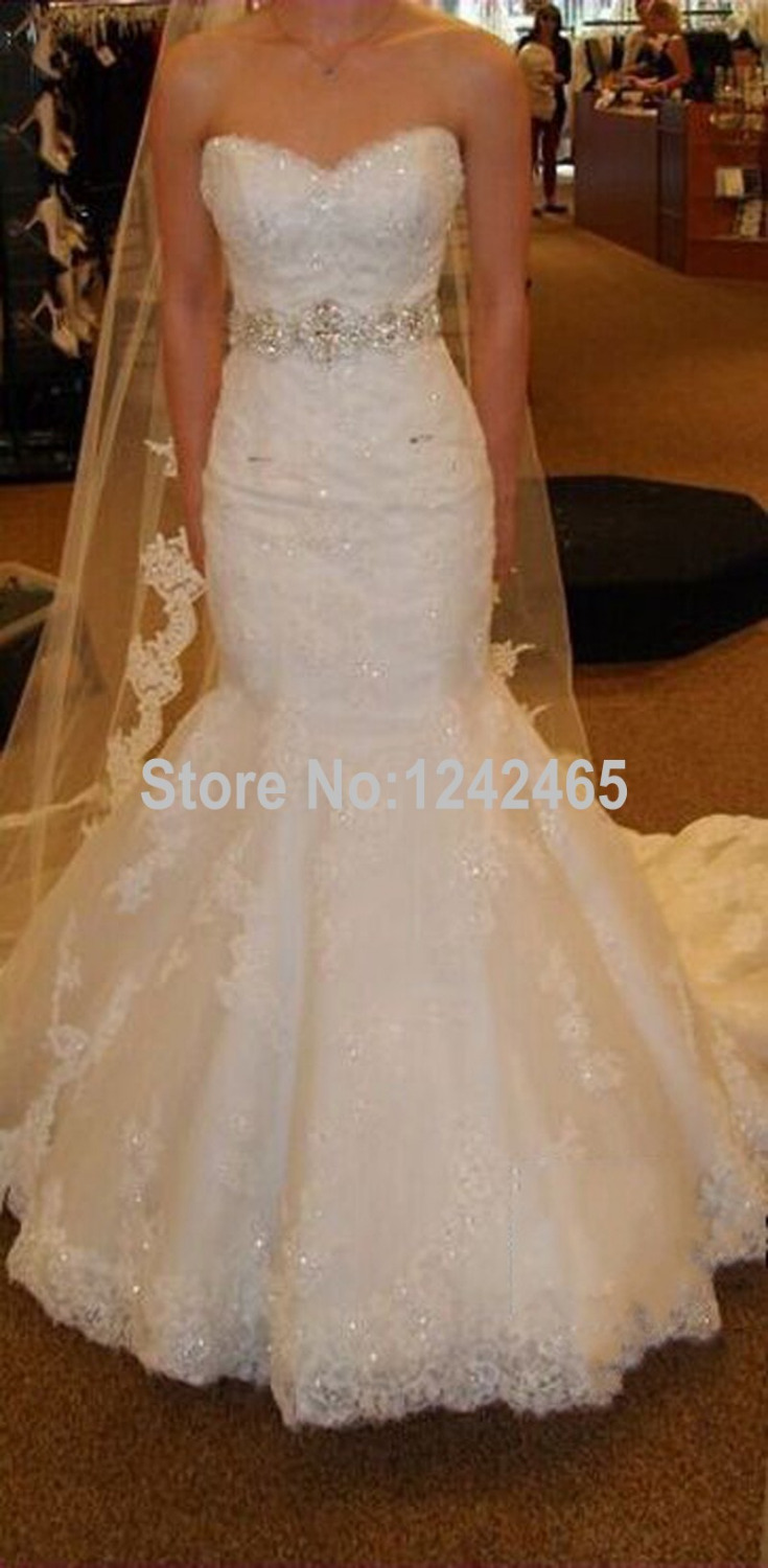 Buy Sweetheart Appliqued Robe De Mariee Sirene Strapless Sweep Train Wedding
