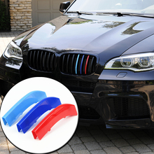 3D M Car Styling Front Grill Trim Strips Sticker For BMW 3 4 5 5GT Series X1 X3 X4 X5 X6 F10 F18 F30 F35 F48 F25 F26 F15 F16 F07