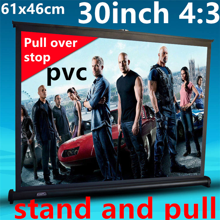 thenew 30 inch 4:3 pvc Pull Up standing projector Screen Portable Floor Stand Screen for dlp led hd mini projector free shipping<br><br>Aliexpress