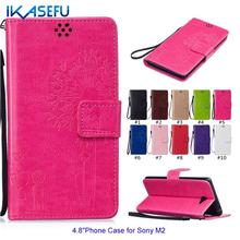"Buy IKASEFU New Fashion Embossed Dandelion PU Leather Stand Function Case SONY M2 4.8"" Wallet Flip Magnet Closure Card Holder for $3.74 in AliExpress store"