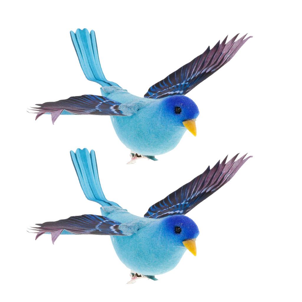 2x Black Feather Bird Artificial Simulation Birds Xmas Prop Home Yard Decor