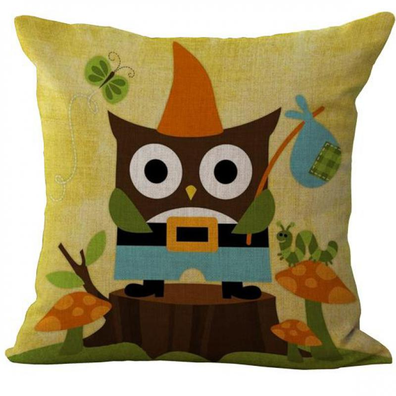 Cute Cartoon Owl Elephant Pattern Square Linen Throw Pillow Case Cushion Cover Home Kids Room Pillow