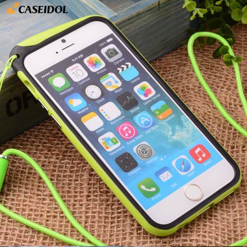 New Style Neck Strap Lanyard Cases for Apple iPhone 6 Plus 5.5 Inches Colorful TPU Rubber Bumper Frame 10 Kind Candy Colors(China (Mainland))