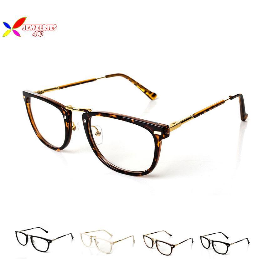 Retro Fashion 2015 Glasses Women Eyewear Vintage Square Clear Lens Metal Myopia Frame High Quality Men Plain Glasses Eyeglasses(China (Mainland))