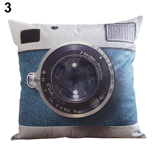 Retro Camera Home Decorative Linen Cotton Blended Cushion Cover Throw Pillow Case 6V5F