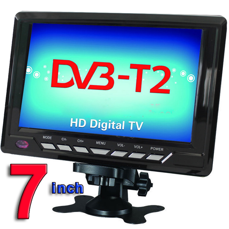 Free Shipping Televisions 7inch TFT LCD Color DVB-T2 Portable TV With Wide View Angle, Support SD/MMC Card, USB Flash Disk(China (Mainland))