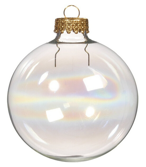 Free Shipping DIY Paintable Iridescent/Rainbow Christmas Ornament Decoration 66mm Glass Ball With a Gold Top, 400/Pack(China (Mainland))