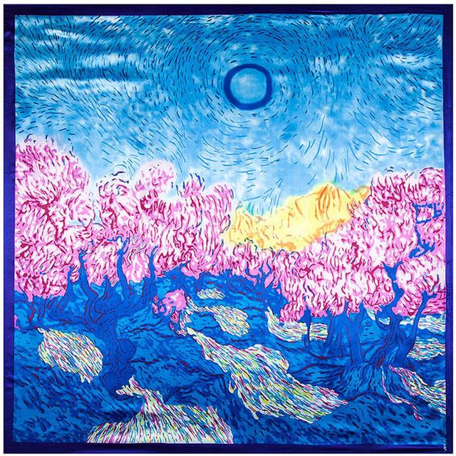 90 см * 90 см женщин весной вс дикие леса живопись шаблон большой косынка оптовая продажа шарфы на рабочем месте