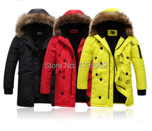 2014 Winter Men Fashion Fur Collar Hooded Down Jacket Solid Color Three Color Options
