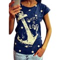 New Fashion Summer Short Sleeve Blouse Crew Neck Casual Female Ladies Anchor Pattern