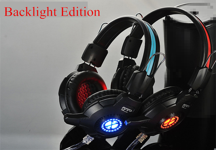 Backlight Headband Headphones Computer Gaming Portable Headset Wired Earphone Noise Cancelling Microphone x6(China (Mainland))