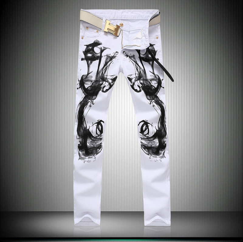 Скидки на Узкие джинсы мужчин мужская одежда Цветы и птицы печати джинсы Тонкий Был тонкий белый Эластичность Ноги брюки джинсовые комбинезоны G202