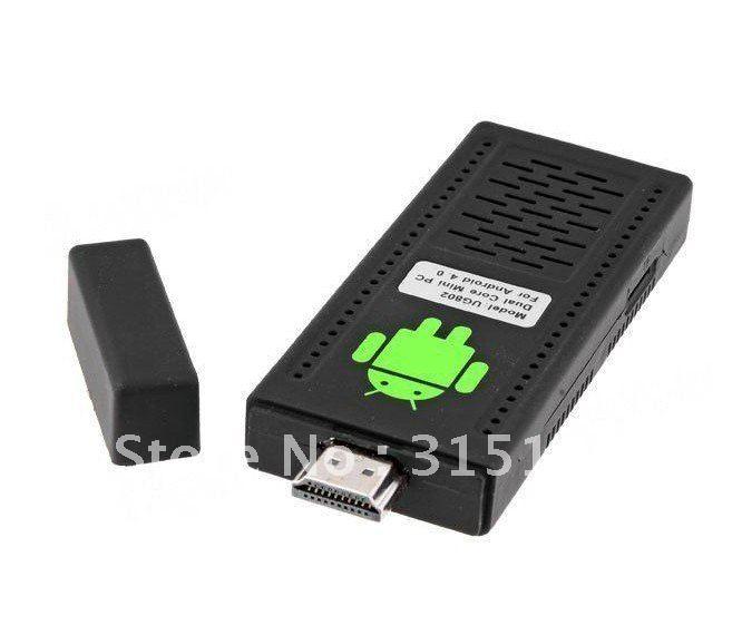 Free Shipping Dual Core Mini PC Android 4.0 TV Box IPTV Cortex-A9 1GB RAM 4G ROM HDMI Black (UG802)(China (Mainland))