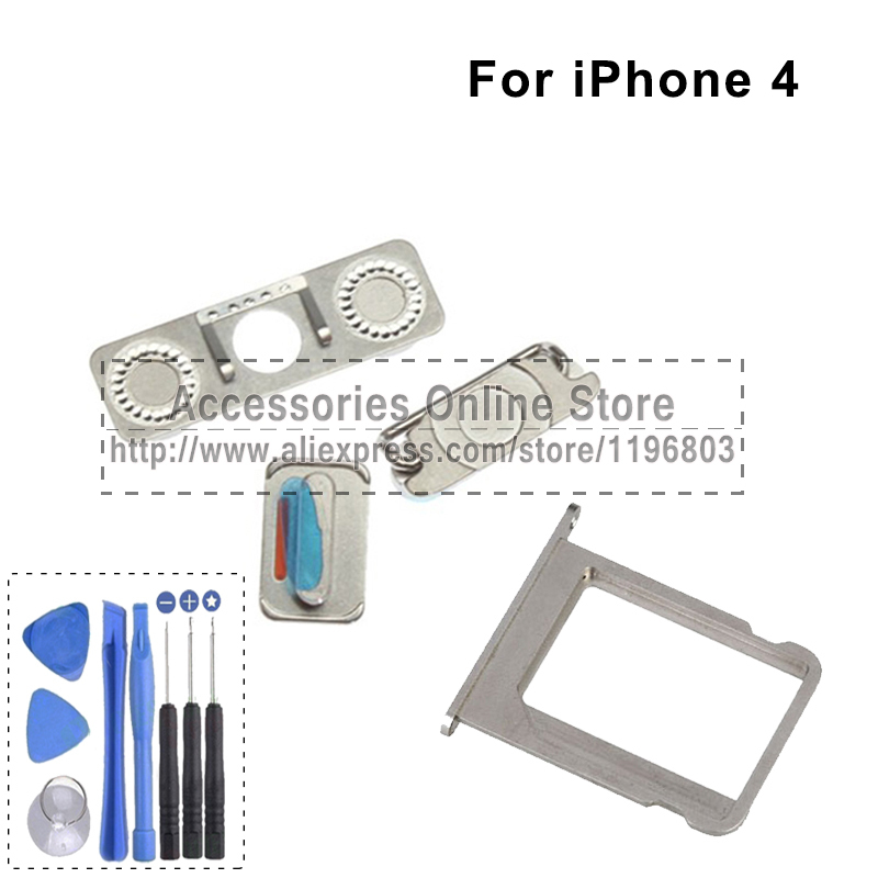 Sim Card Tray Slot Holder volume audio Side power on off buttons Home Back Button For iPhone 4 4G Replacement(China (Mainland))