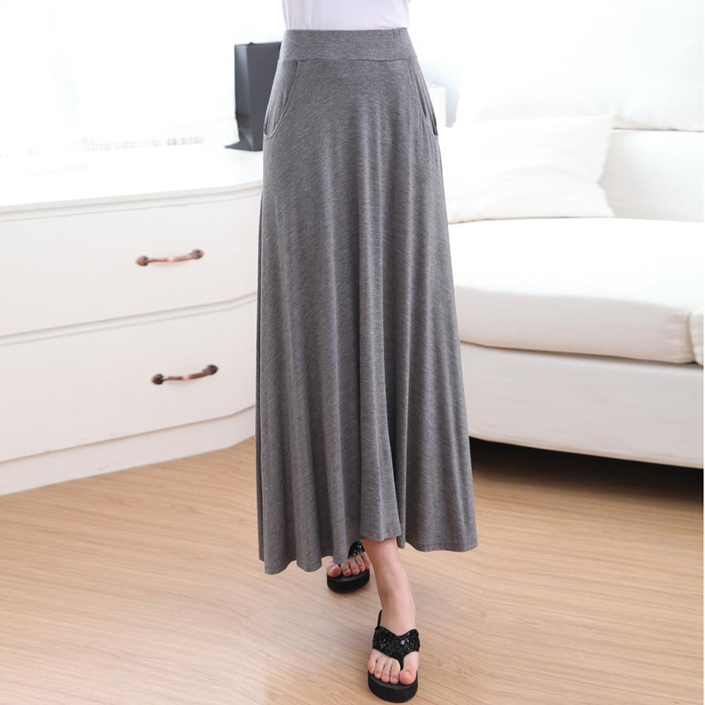 casual womens modal solid maxi skirt stretch a line