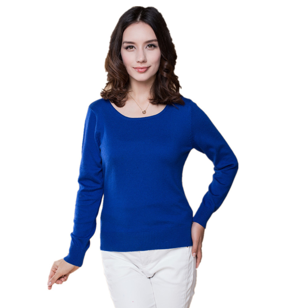 2015 Cashmere Sweater  Women Sweaters and Pullovers Women Fashion o Neck Solid Color Long sleeve XXL Knitted Sweater