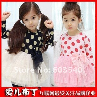 free shipping 2012 HOT 5pcs/lot cute kids clothes girl's long sleeve lace dot dress for spring 2colors, baby wear