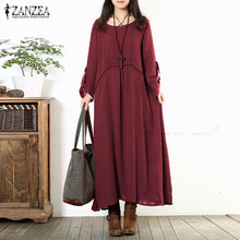 Buy ZANZEA 2017 Autumn Women Oversized Retro Long Dress Ladies Casual Loose O Neck Long Sleeve Maxi Long Dress Vestidos Plus Size for $11.72 in AliExpress store