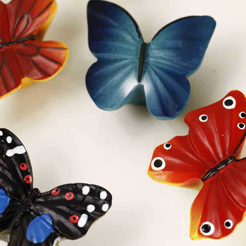 Гаджет  Adorable Cartoon Butterfly Resin Kitchen Cabinet Handle and Knobs Furniture Pulls Kids Bedroom Modern Dresser Knobs 6PCS/Lot None Мебель