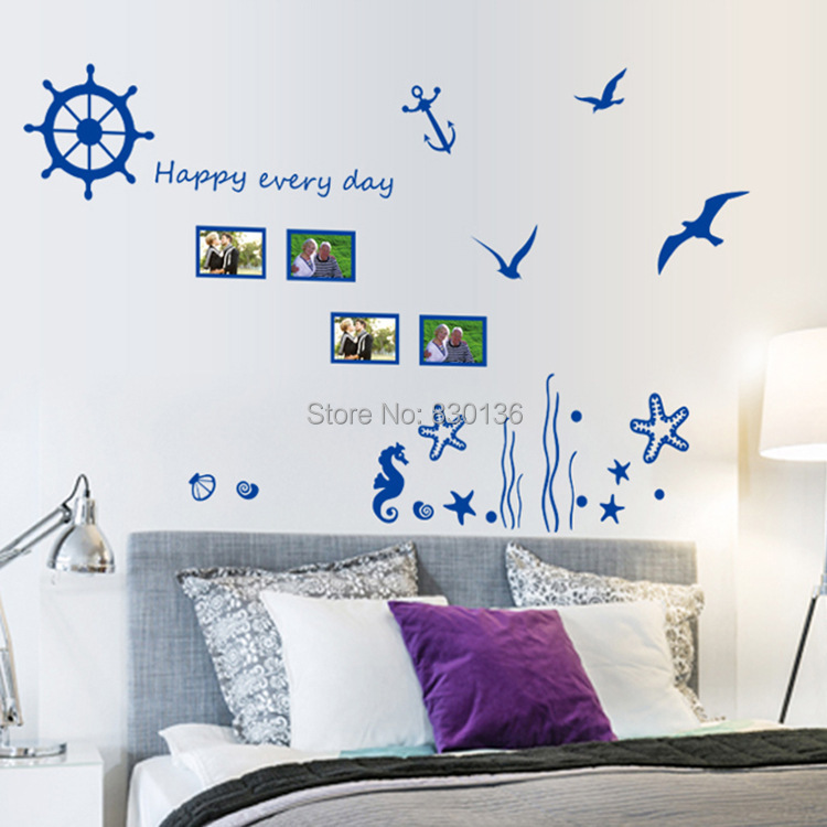 """New Arrive Blue sea """"Underwater World"""" Seagull wall stickers for living room for children kids bed room wall sticker home decor(China (Mainland))"""