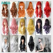 Cheap Long Wavy Anime Cosplay Wig Women Curly Wigs Synthetic 80 cm Red/Blond/Black/Yellow Wigs
