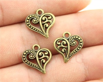 WYSIWYG 10pcs/lot 15*14mm antique bronze color heart charms