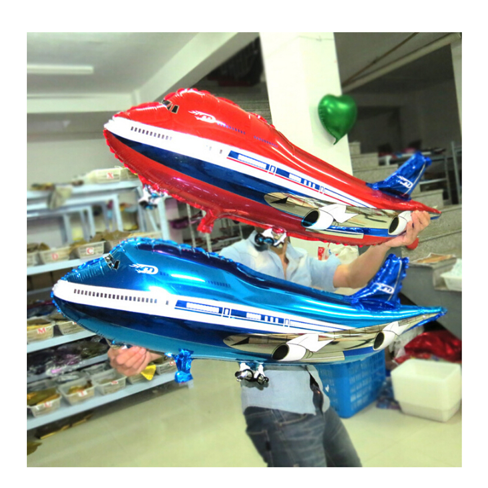 CCINEE 50 PCs 43x82CM Airliners Model Aluminum Foil Balloons Holiday Birthday Party Blue Red Balloon Inflatable Toys For Kids(China (Mainland))