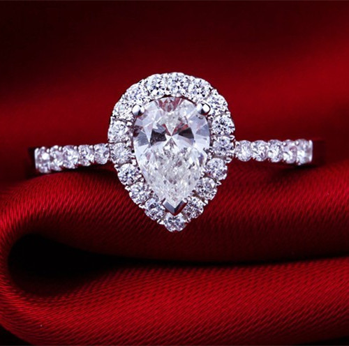 2Carat Pear Shape NSCD Synthetic Diamond Ring Solid Sterling Silver Marriage Ring Best Water Drop Style Women Ring(China (Mainland))