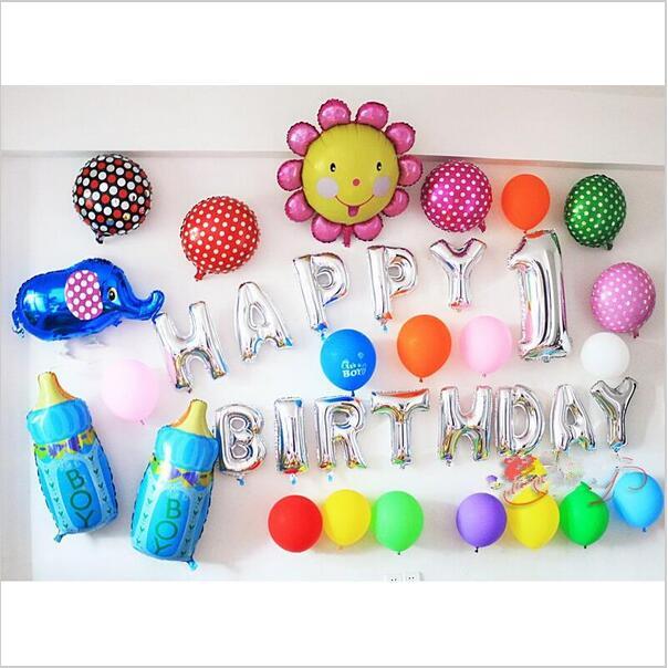 New 13pcs/lot Silver/Gold Letter Happy Birthday BALLOON aluminum foil balloon baby birthday decoration alphabet helium balloon(China (Mainland))