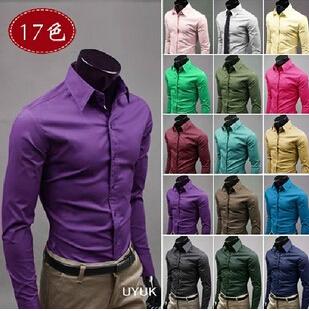 ! Mens Slim fit Unique neckline stylish Dress long Sleeve Shirts dress shirts 17colors ,size: M-XXXL - Brain09 store