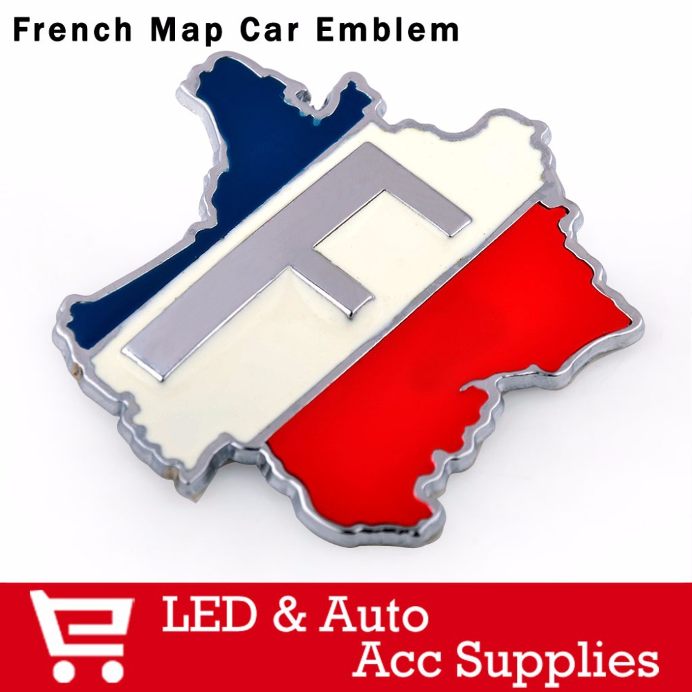 1PC National France FR Map Flag Emblem Badge Car Body 3D 3M Decal Sticker 100% Metal 5.9x6.1 for Peugeot Renault Citroen(China (Mainland))